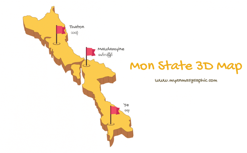 Mon State 3D Map | Free Myanmar Graphic Vector