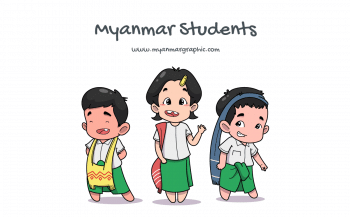 Myanmar (Burma) Students Vector